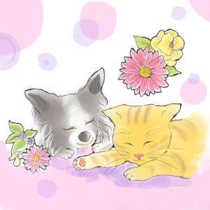 犬と猫のイラスト
